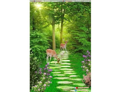 tranh gạch 3d rừng cây lối đi hươu 98