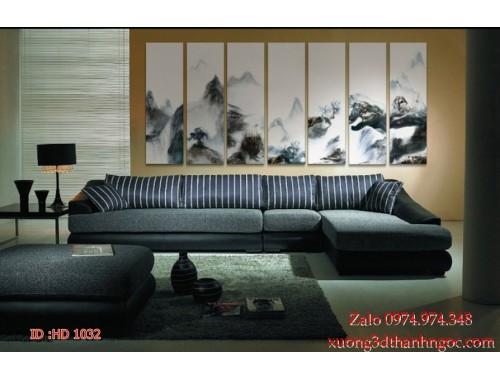 Tranh bộ treo tường hiện đại phủ gương HD 1032