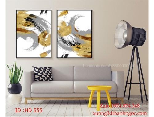 Tranh bộ treo tường hiện đại phủ gương HD 555