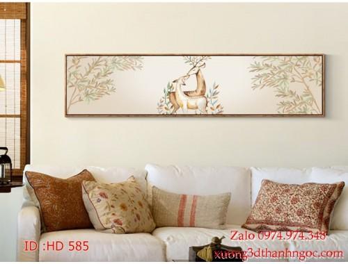 Tranh bộ treo tường hiện đại phủ gương HD 585
