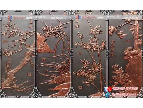 tranh gạch 3d tứ quý giả gỗ điêu khắc 22