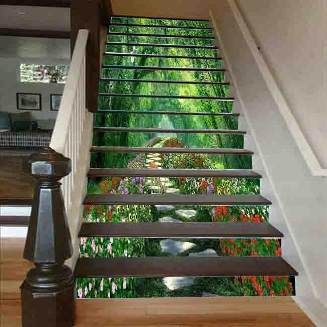 Cầu thang 3D hàng cây chim bồ câu 1