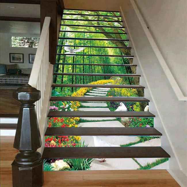 Cầu thang 3D hàng cây đẹp