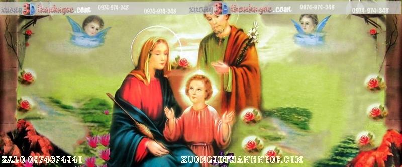 Tranh gạch 3D công giáo gia đình thánh gia