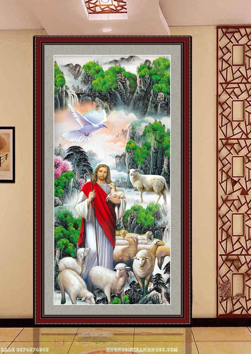 Tranh gạch 3d chúa giesu và đàn cừu