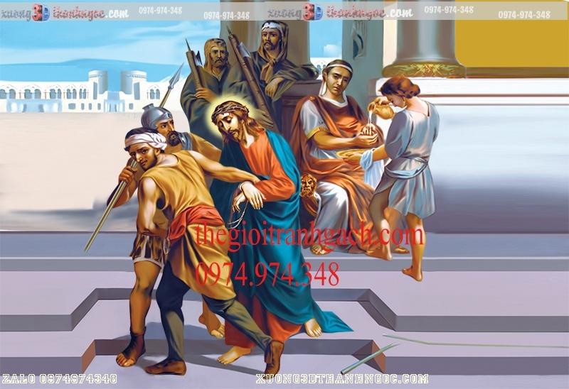 Tranh 14 đàng khổ ải đức chúa- Tranh gạch 3D công giáo 38