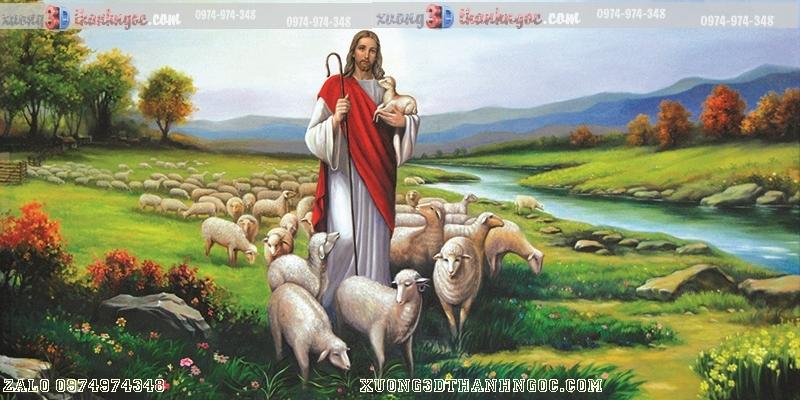 Tranh gạch 3D chúa giê su và đàn cừu