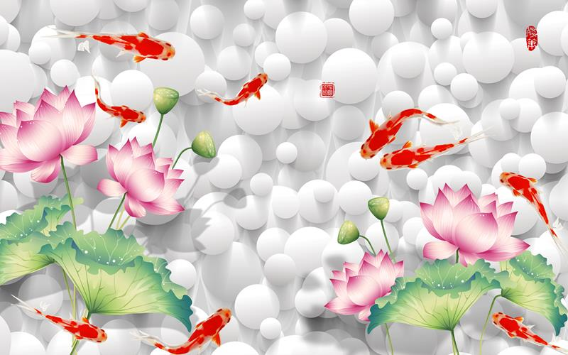 tranh gạch 3d hoa sen