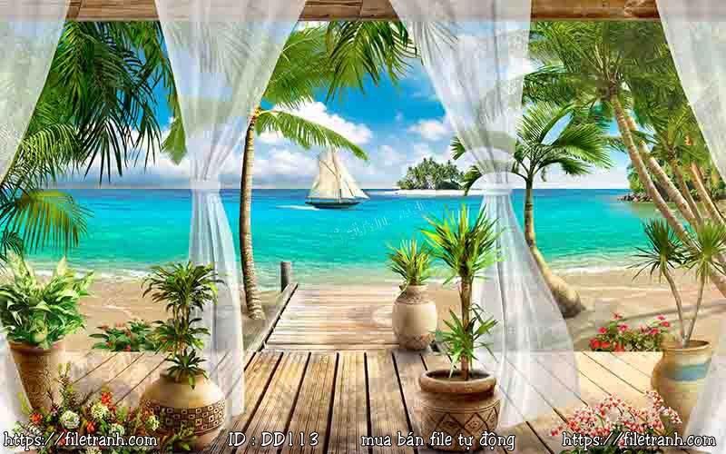 Tranh 3d đại dương cảnh biển 113