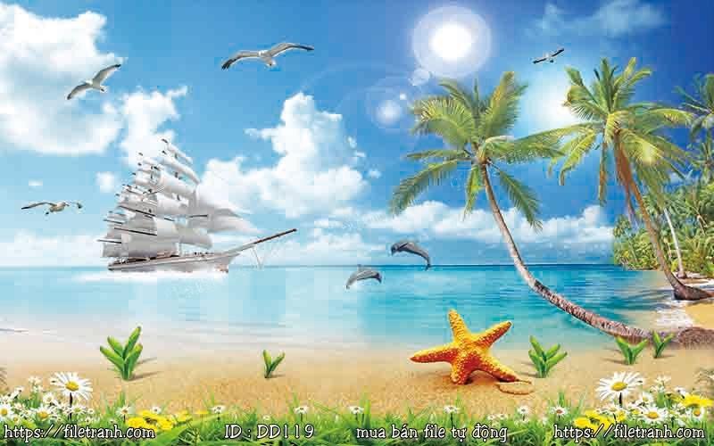 Tranh 3d đại dương cảnh biển 119