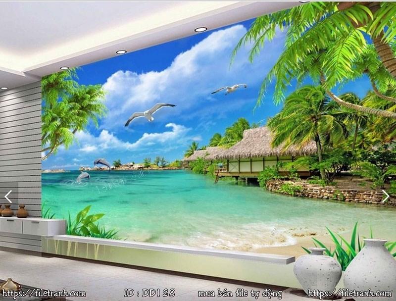 Tranh 3d đại dương cảnh biển 128