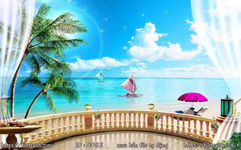 Tranh 3d đại dương cảnh biển 88