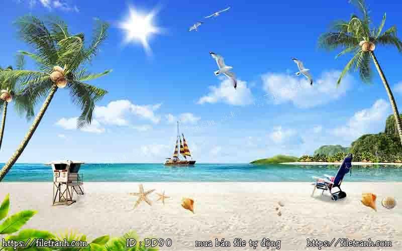 Tranh 3d đại dương cảnh biển 90
