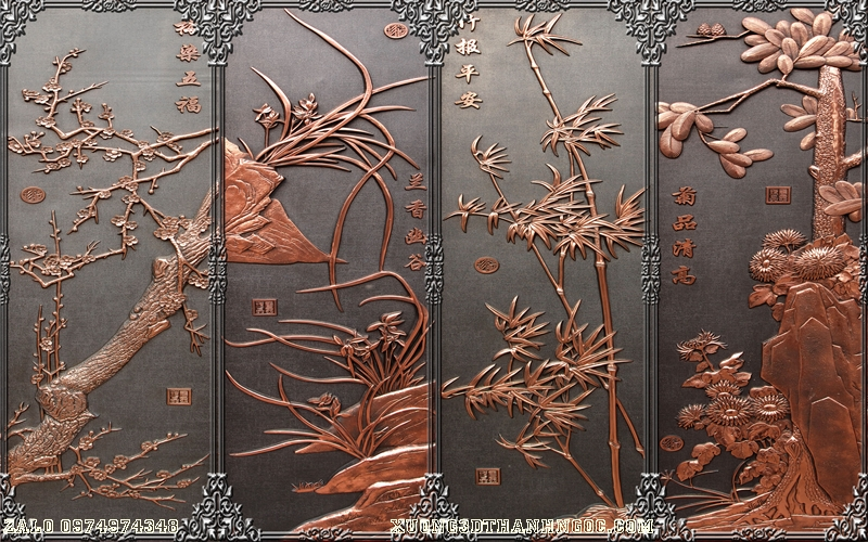 Tranh gạch 3D điêu khắc DK63
