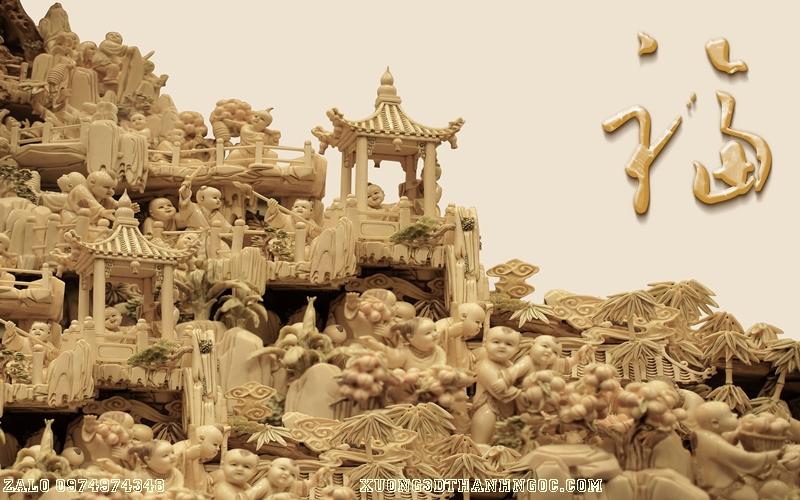 Tranh gạch 3D điêu khắc DK95