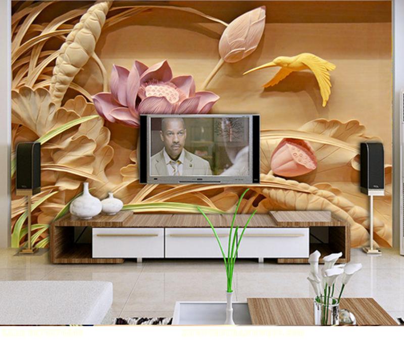 Tranh điêu khắc 3D phòng khách bông sen