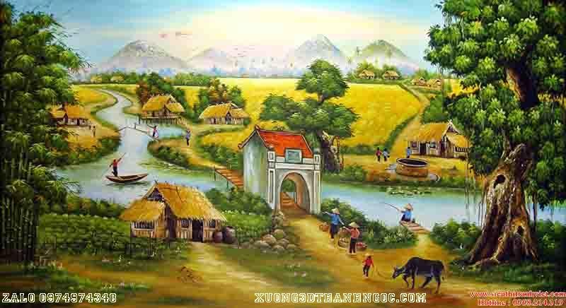 Tranh 3D đồng quê cây đa giếng nước ao làng 83