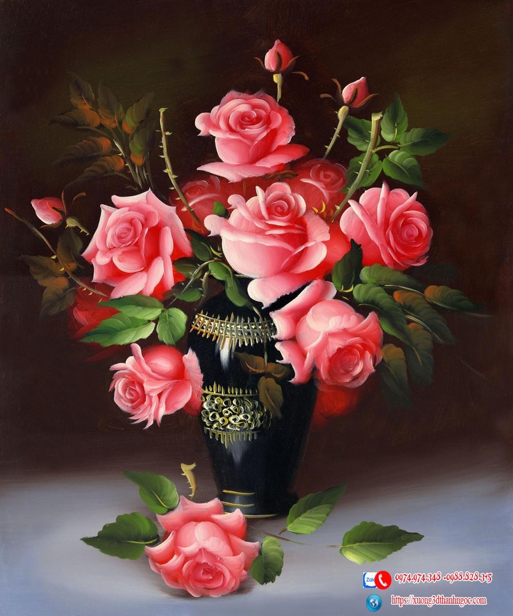 Tranh gạch điểm 3D bình hoa  hồng
