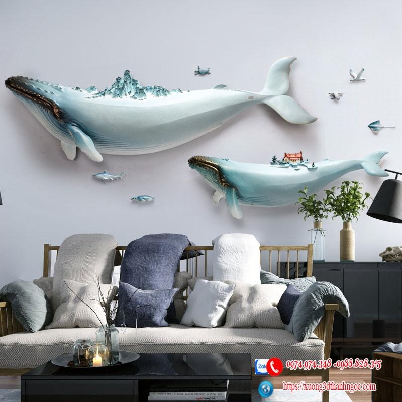 Cá voi 3D bộ 2 con cao cấp