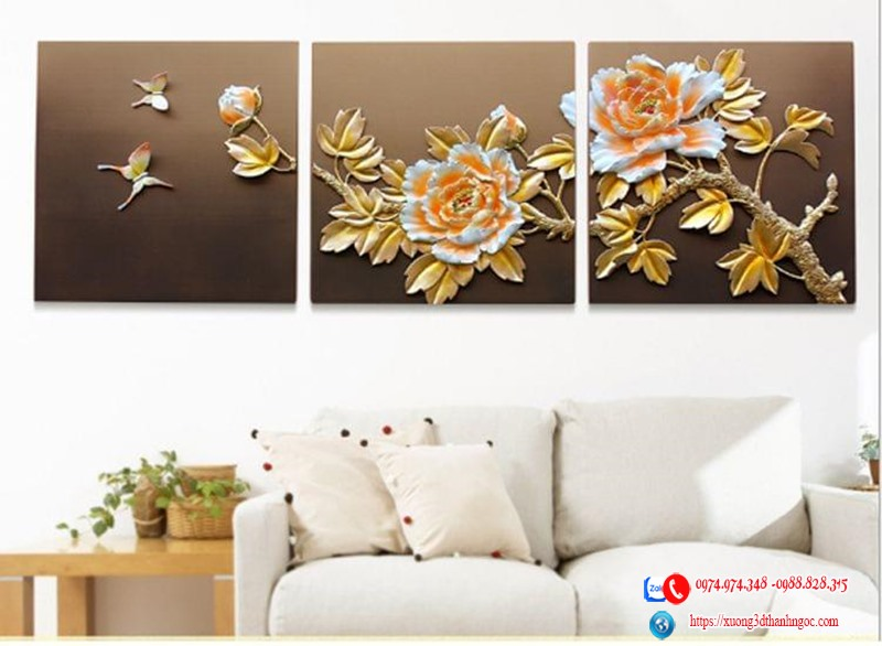 Tranh phù điêu 3d hoa mẫu đơn vàng