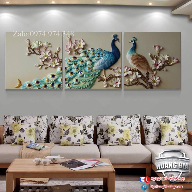 Tranh phù điêu nổi hiện đại đôi chim công  hạnh phúc