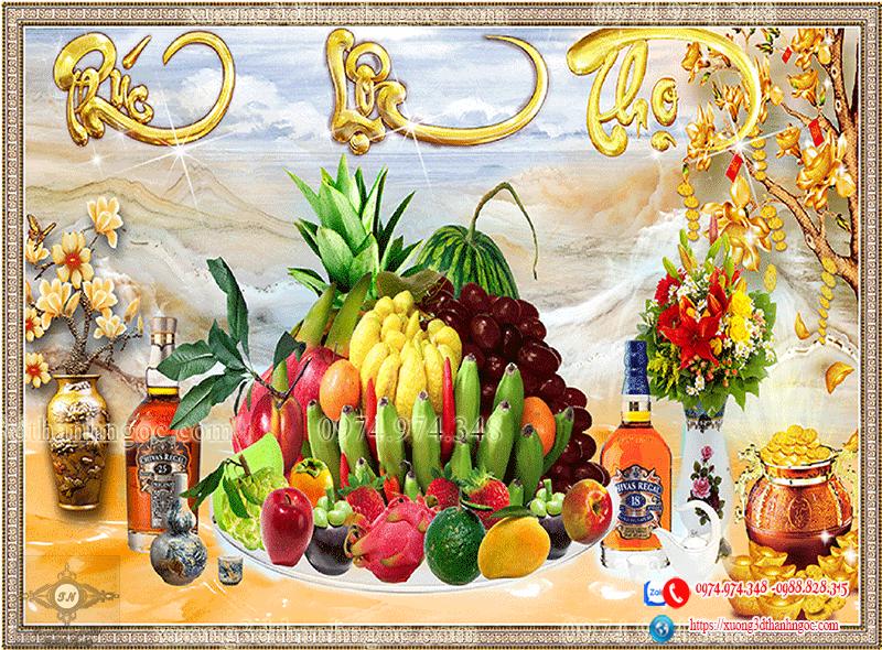 Tranh  3d phúc lộc thọ hoa quả treo ban thờ đẹp
