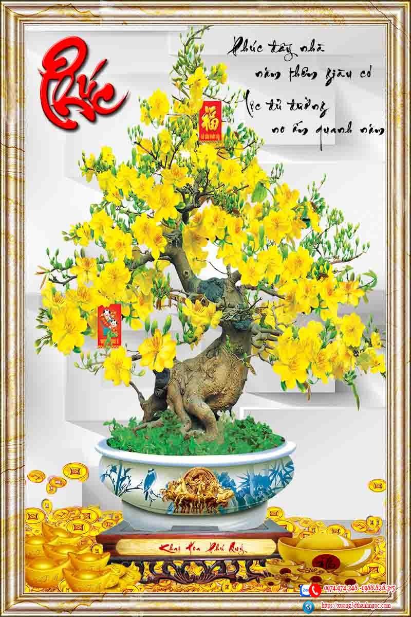 Tranh gạch 3d cây mai vàng chữ phúc