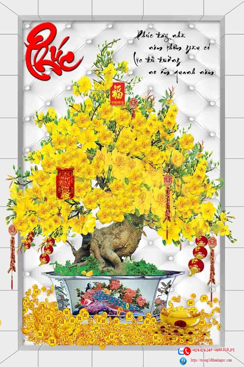 Tranh gạch 3d cây mai vàng chữ phúc đẹp