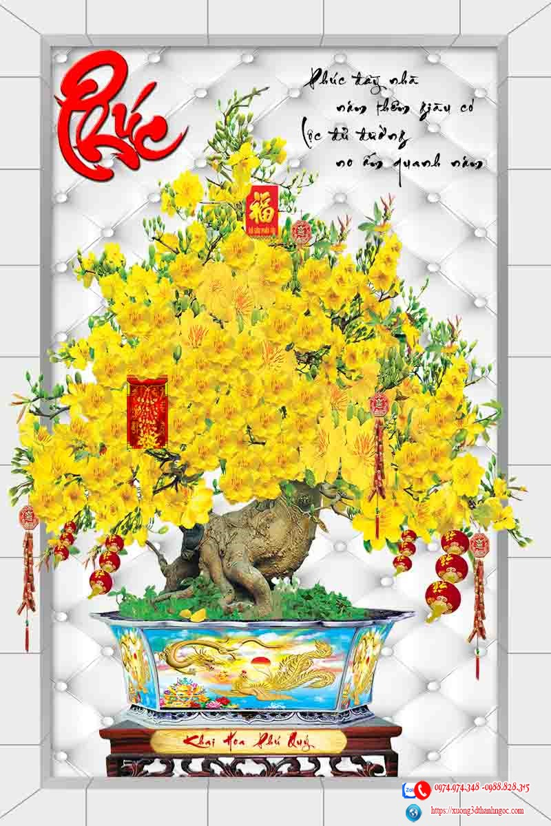 Tranh gạch cây mai vàng 3D chữ phúc