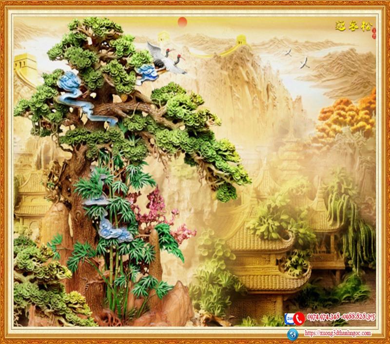 Tranh 3d  điêu khắc cây thông ngôi chùa