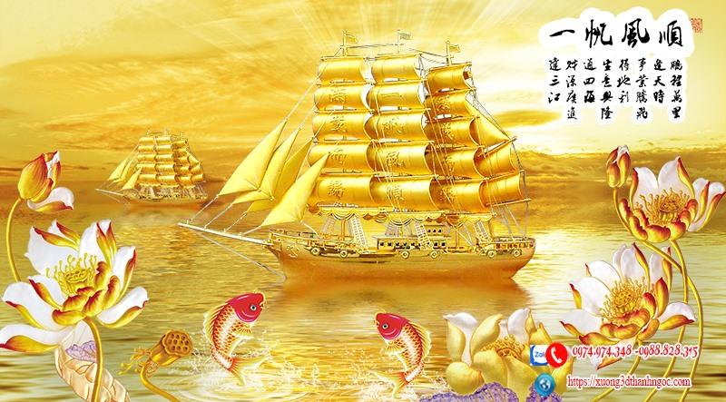 Tranh 3d thuận buồm xuôi gió thuyền vàng
