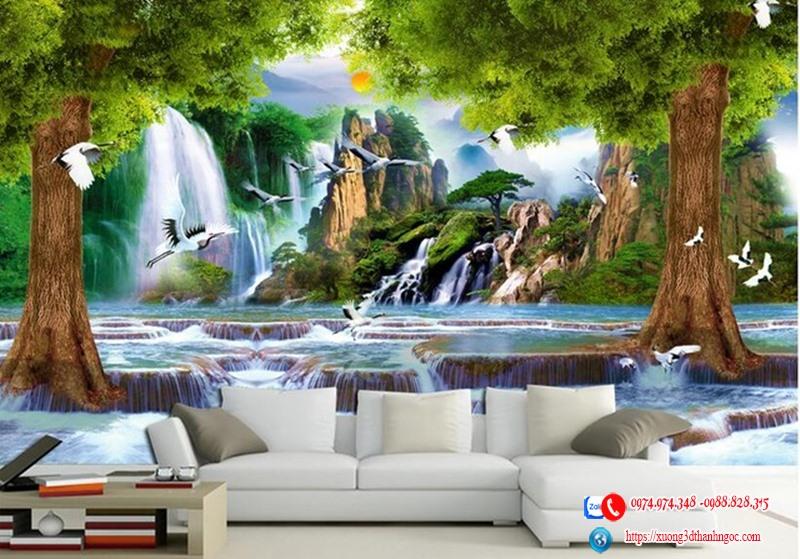 Tranh 3d hàng cây suối nước