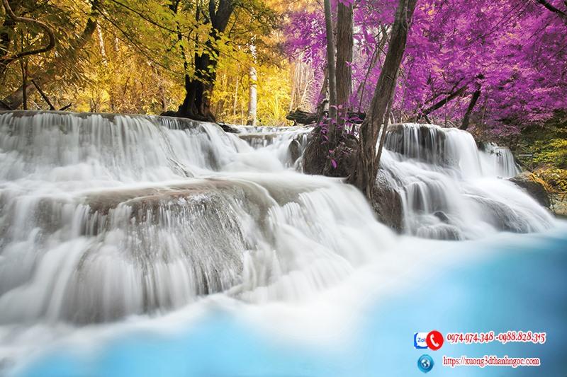tranh rừng cây thác nước