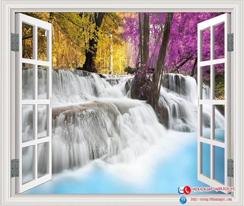 Tranh cửa sổ 3D thác nước