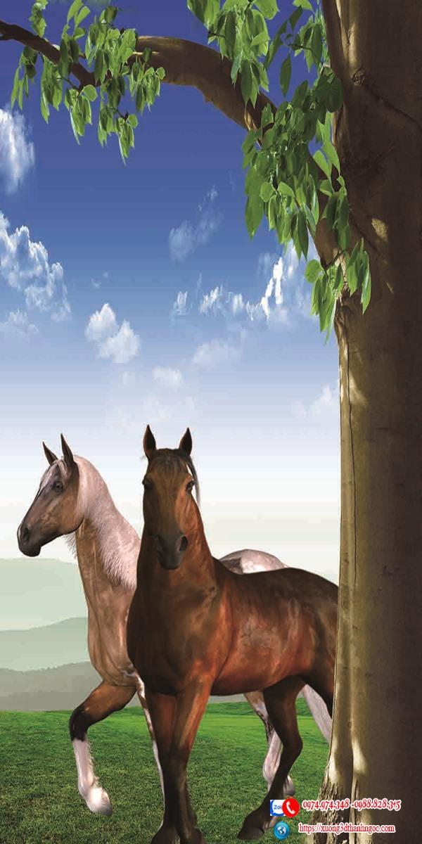 Tranh gạch 3D sơn thủy 2 con ngựa 9