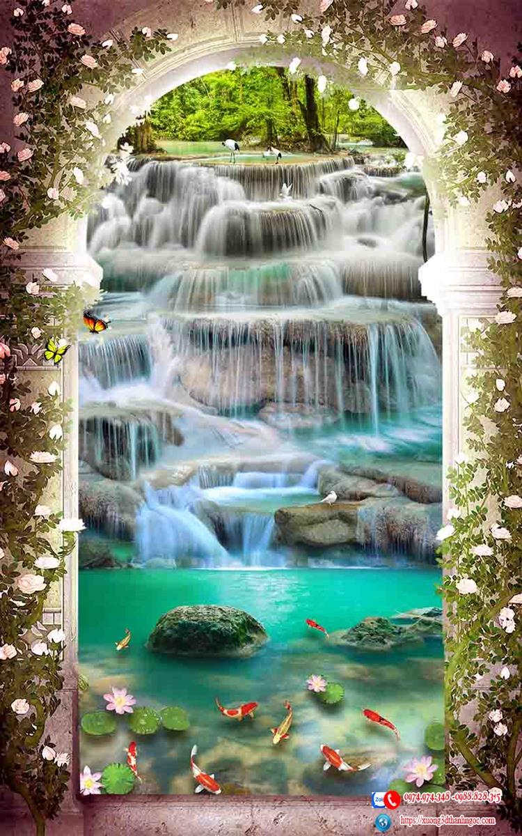 Tranh gạch 3D vòm cửa thác nước con cò 24