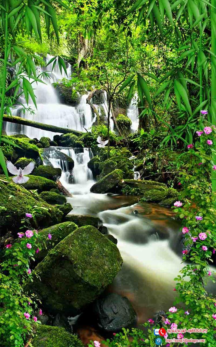 Tranh gạch 3D sơn thủy thác nước  núi 44
