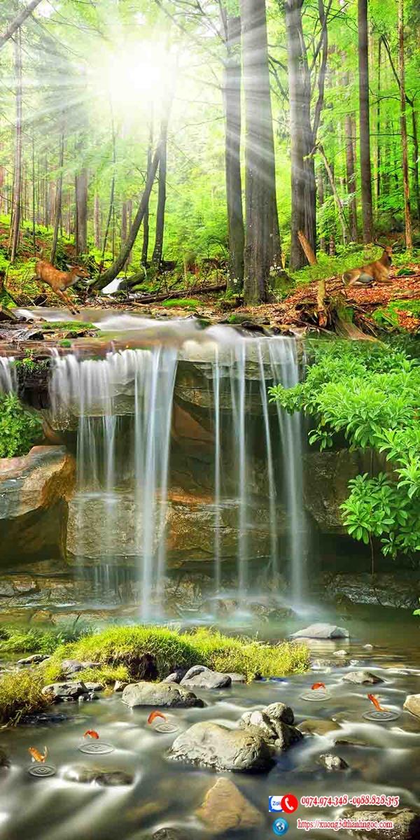 Tranh gạch 3D sơn thủy thác nước rừng  - Tranh 3D phòng khách 68