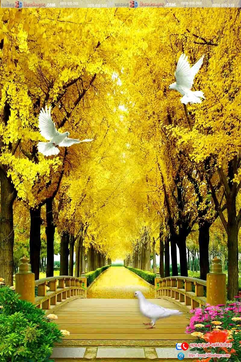 tranh gạch 3d cây cầy hàng cây vàng 91