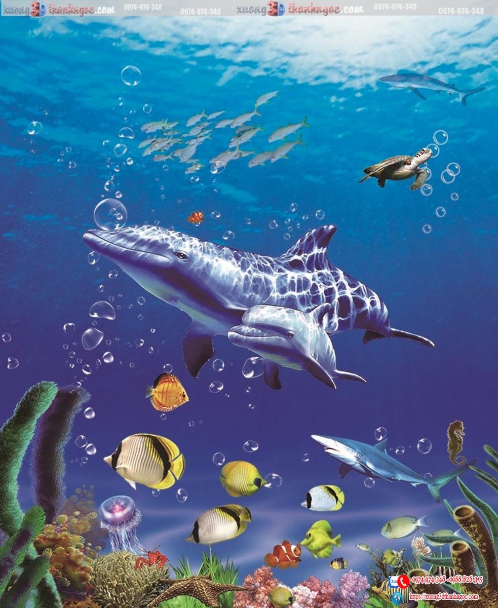 tranh gạch 3d cá heo 11