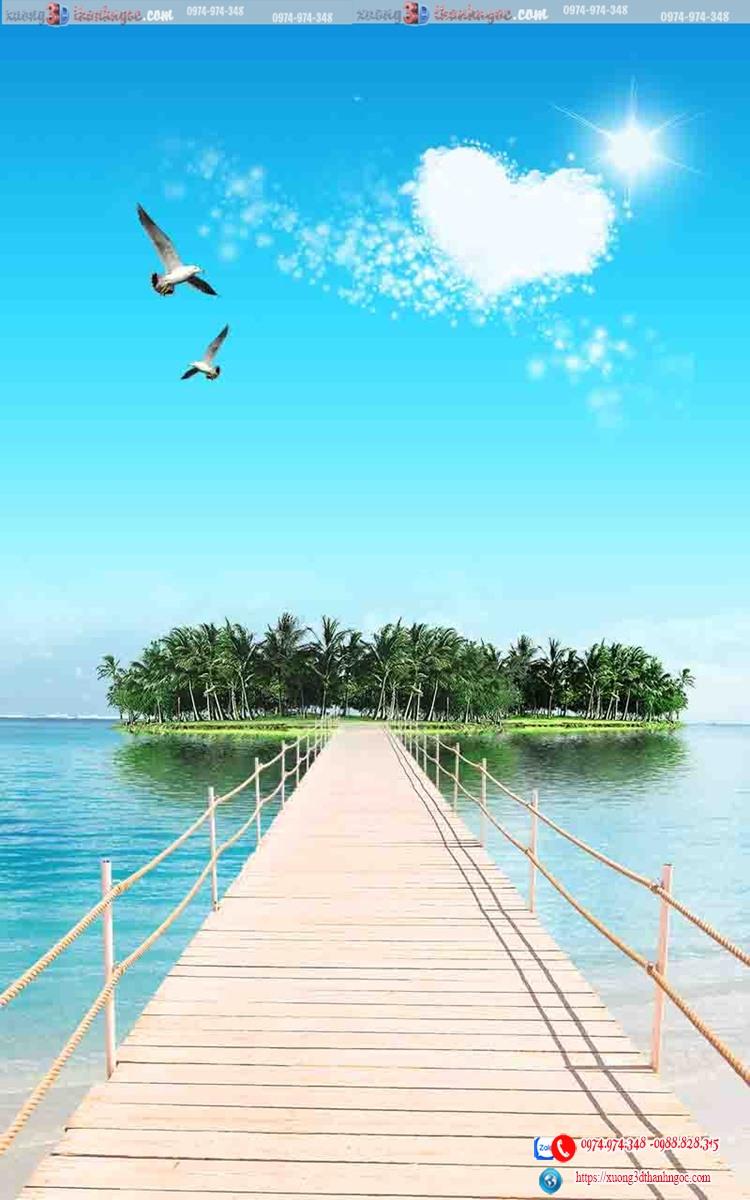 tranh gạch 3d cảnh biển cây cầu 21