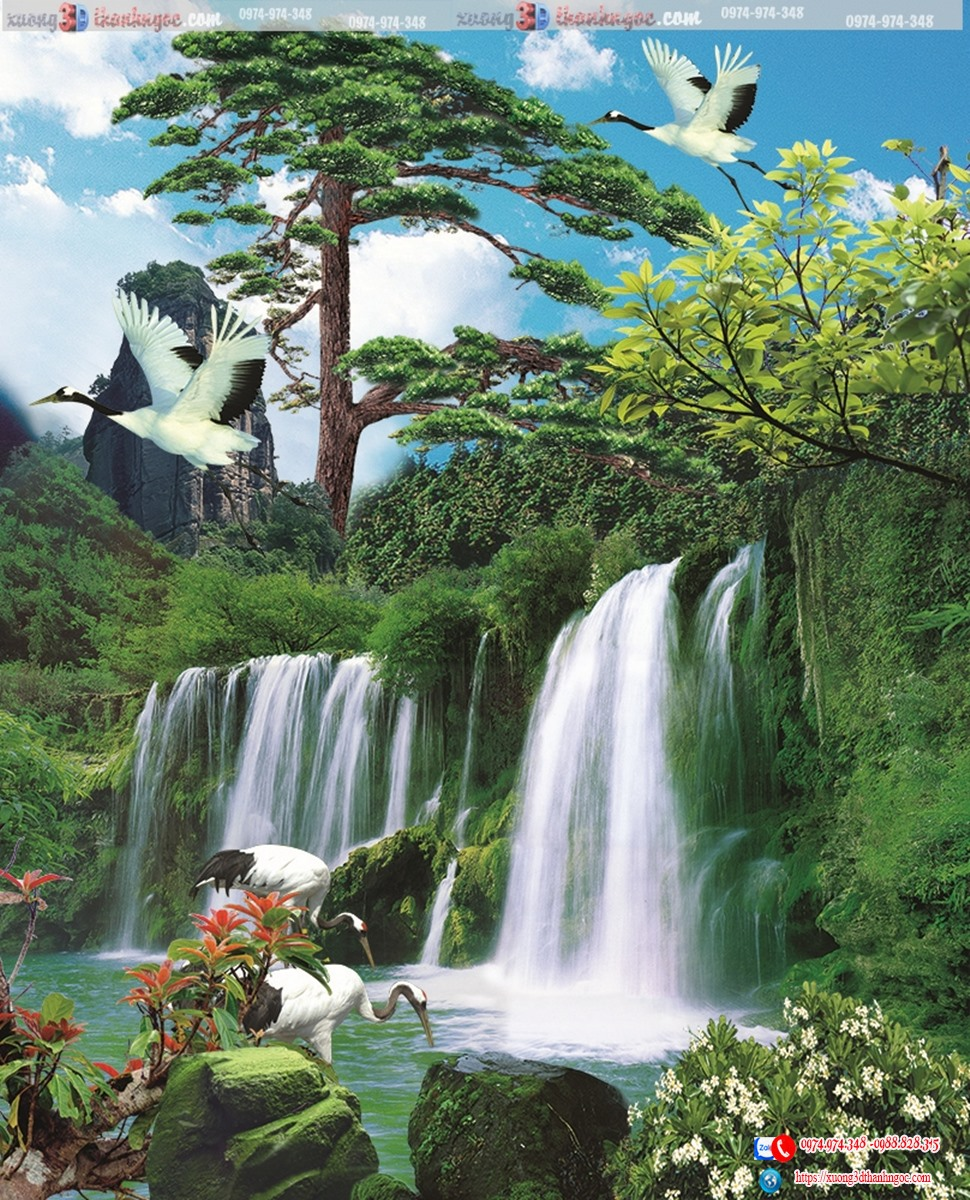 tranh gạch 3d thác nước  541