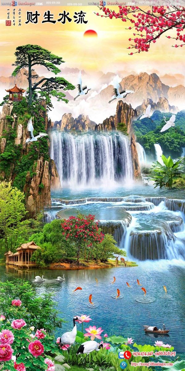 tranh đứng thác nước ngôi nhà 6046