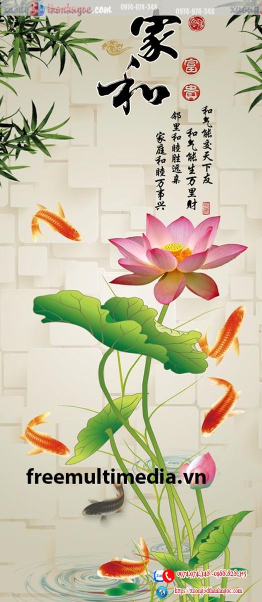 tranh gạch 3d hoa sen cửu ngư cá chép