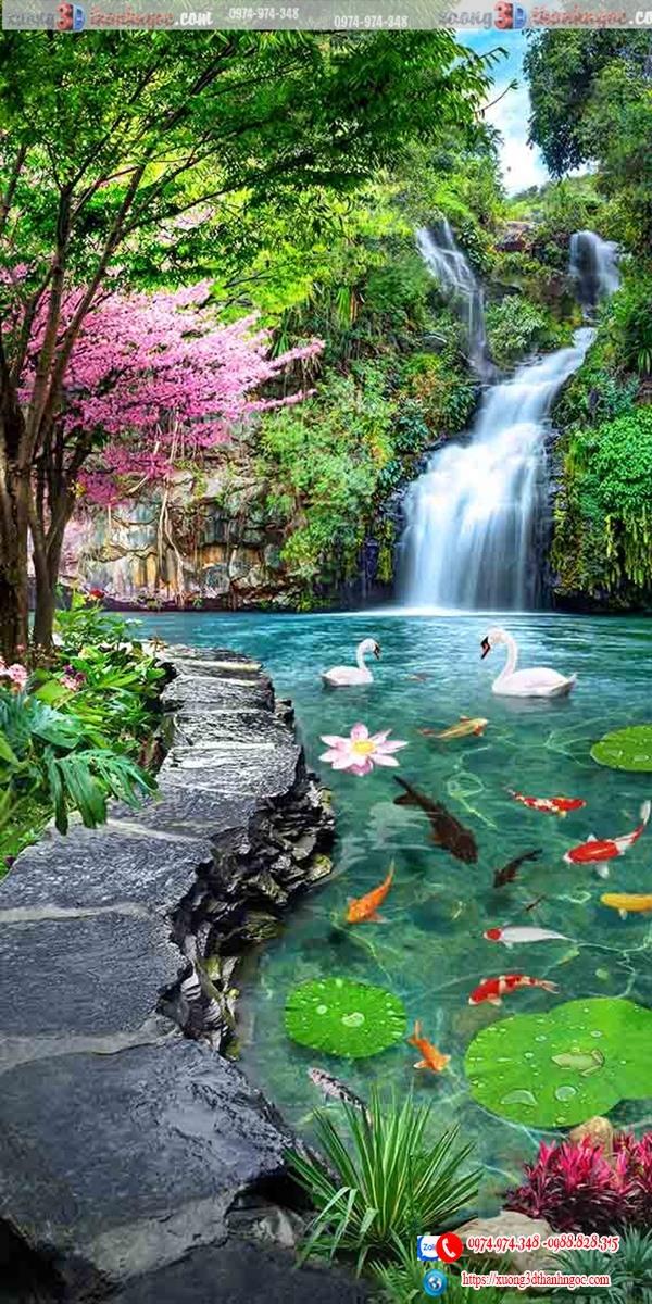 Tranh gạch cây cầu thác nước hồ cá 678