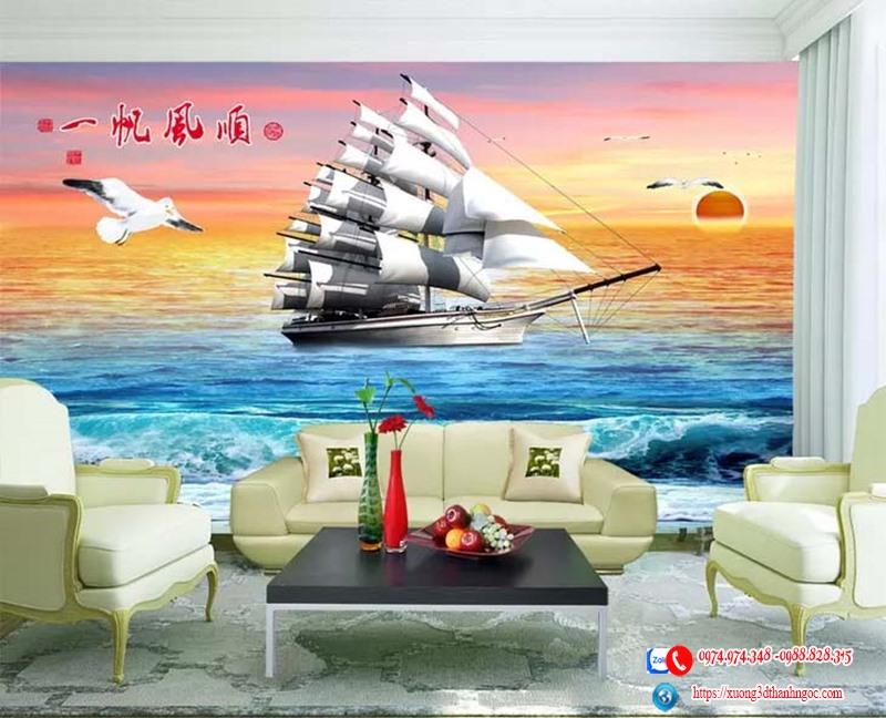 Tranh gạch 3d thuận buồm xuôi gió 22 - tranh 3d phòng khách