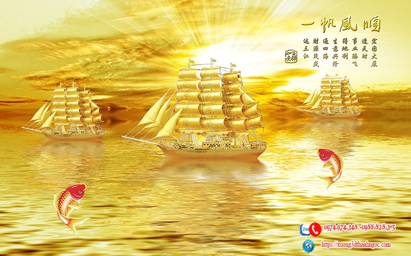 Tranh 3d thuyền buồm vàng