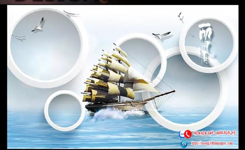 Tranh gạch 3D thuận buồm xuôi gió 3