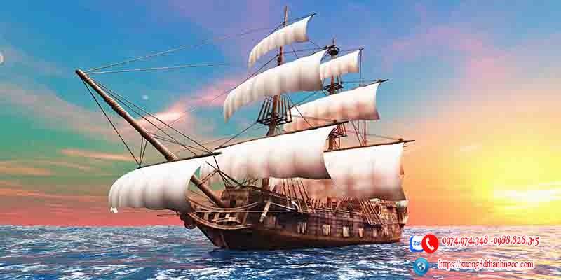 Tranh gạch 3d thuận buồm xuôi gió vàng