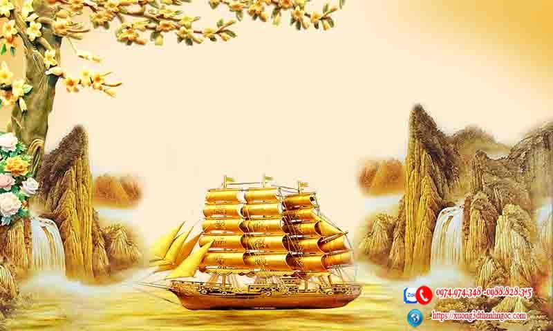 Tranh gạch 3d thuận buồm vàng